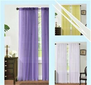 2PC SHEER VOILE PANEL INDOOR OUTDOOR PORCH WEDDING ROD POCKET WINDOW CURTAIN