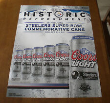 2009 COOR LIGHT BEER PITTSBURGH STEELERS SIX SUPER BOWL CANS POSTER