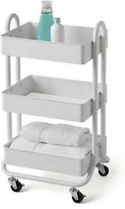 Bath Storage Cart, 3 Tier, White, SALT, Rolling cart for kitchen, bath, laundry