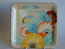 Art Deco Grays Susie Cooper style scalloped edge square plate unusual colours