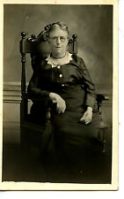 Older Woman-Wire Rim Glasses-Carved Wood Chair-RPPC-Vintage Real Photo Postcard