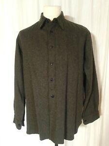 "Stone Island 1995 winter shirt size L. 46"" chest. 16"" collar. dark olive green."
