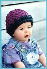 A Berry Cute Hat Fiber Trends Knitting Pattern CH-9 Instructions for Baby & Kids