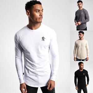 Gym King Mens Long Sleeve Crew Neck Basis Slim Fitted Designer T-Shirt Tee Top