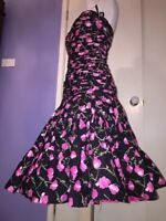 Victor Costa Designer Dress Audrey Hepburn 50's Rockabilly Prom Retro Satin USA