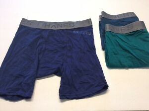 Hanes Mens Size Small Boxer Briefs 3 Pairs Underwear Green Blues