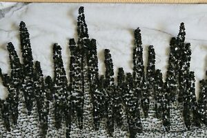 Antique Mid Victorian Hand Embroidered Black Jet & Sequins On Lace Yardage~72X10
