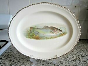 "Vintage ""Woods Ivory Ware"" England Fish Platter with Gold Gilding"