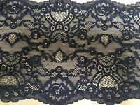 """*New* 7""""/18cm Stunning Navy Blue Stretch Galloon Lace Trimming. Sewing/Lingerie"""