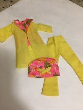 Vintage 1970's Doll Outfit Pink/Yellow Jacket/Coat & Hat fits Barbie