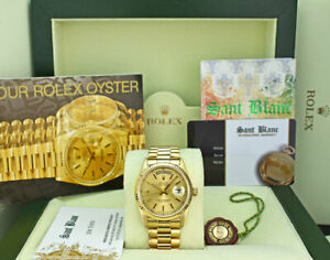 ROLEX - 36mm 18kt Gold Day Date PRESIDENT Champagne Stick 18038 - SANT BLANC