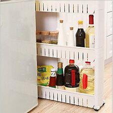 Slim 3 Tier Sliding Gap Storage Narrow Storage Unit Tower Pull Out Cupboard Whit