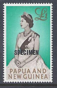 1963 PAPUA NEW GUINEA £1 QUEEN OVERPRINTED SPECIMEN (13½mm) FINE MINT MNH