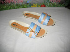 "New DANIBLACK ""Ipo"" Blue Fabric & Tan Leather Sandals 10"