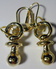 Earrings Pacifiers Baby Leverback Dangle Charm 14 KT Gold Plated