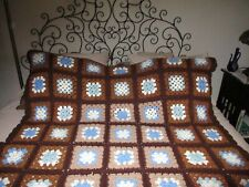 Vintage Crochet Granny Square Afghan Blanket Handmade Throw 67x 48