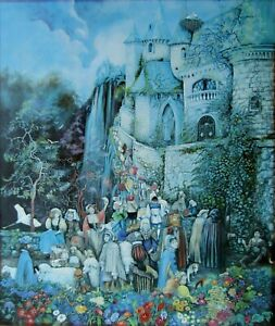 Medieval Castle Figures Hand Oil Painted Signed & #'d Large Giclee on Canvas NR