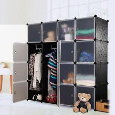 16 Gates Wardrobe Interlocking Cube Plastic Storage Shoes Rack Clothes Organiser