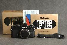 Black Body Nikon FE 35mm SLR Film Camera Japan Original Box Instruction Manual