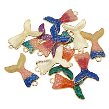 10pcs Mixed Alloy Jewelry Pendants Enamel Gold Mermaid Tail Charms Accessories