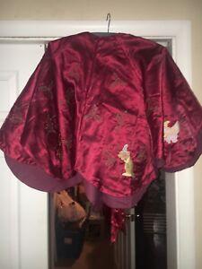 "Rare Vintage Disney Christmas Tree Skirt  54"" Embroidered Burgundy Dumbo"