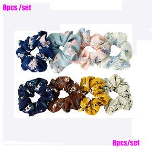 8pc/set of chiffon hair scrunchies ponytail holders elastic hair band elaborated