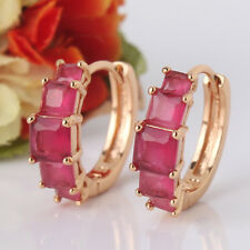 Nice Shine 18K gold filled Princess Ruby lady hollow band hoop earring