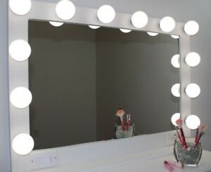 LIGHTED VANITY MIRROR LARGE 40 X 28 HOLLYWOOD STYLE