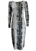 New Womens Ladies Celeb Long Sleeve Animal Print Stretchy Bodycon Midi Dresses