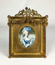 Large Exquisite Stunning Portrait Miniature In French Gilt Bronze Dore Frame Sgd