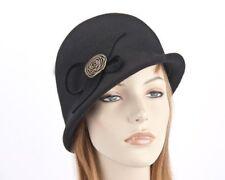 Black bucket cloche felt hat by Max Alexander. RRP: 129.95