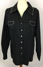 Grand Ole Opry Black Stretch Poplin Button Front Shirt w/ Rhinestones Size XL