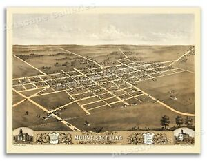 1869 Mount Sterling Illinois Vintage Old Panoramic City Map - 18x24