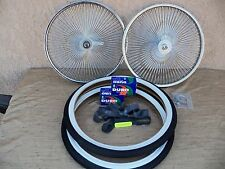 BICYCLE 20''-140 SPOKES RIM SET WITH TIRES, TUBES & LINERS FOR SCHWINN,LOW RIDER