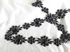 1mtr Negro Con Cuentas Plata Joya Flor Encaje De Corte Vestido de Disfraz de tela manualidades de costura