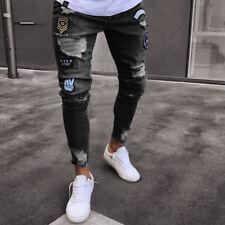 Men's Fashion Ripped Skinny Biker Jeans Destroyed Frayed Slim Fit Denim Pants