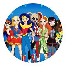 Superhero Girls Kids Birthday Cake Icing Sheet Topper Round Images