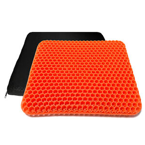 Gel Seat Cushion Double Thick Egg Sit Office Chair Car Pad Non-Slip Cover Orange