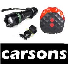 black alloy XML front & rear red laser five LED bike lights set kit MTB BMX beam