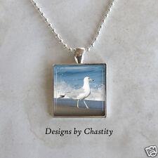 Sea Gull Necklace Pendant Glass Art Charm Necklace Nautical Ocean Beach Wave