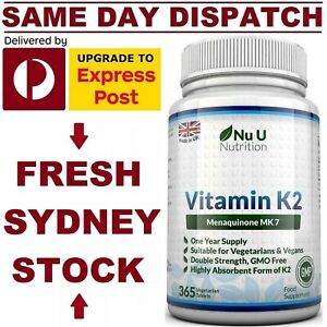 Vitamin K2 MK7 200mcg 365 Tabs DOUBLE STRENGTH PREMIUM GRADE NuNutrition UK MADE
