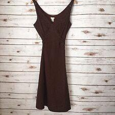 Odille Anthropologie Chocolate Brown A Line Tie Back Dress Sz 8