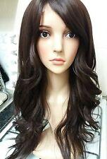 Marrón Oscuro Peluca de cabello humano, Pelo Real, lado flecos, Morena, Encaje Frente