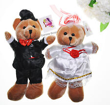 Plush Wedding Bears Couple Bride and Groom Brown Teddy Bears 2 pc Set NWT Gifts
