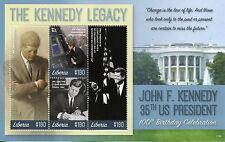 Liberia 2017 Gomma integra, non linguellato JFK John F. Kennedy 100th Bday 4v M/S III PRESIDENTI DEGLI STATI UNITI FRANCOBOLLI
