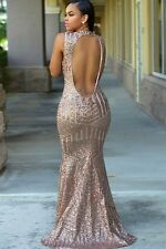 Blush Sequined Open Back Cocktail Evening Prom Dress Size UK 10-12