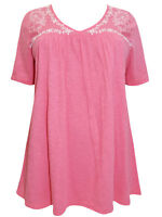Ulla Popken ladies blouse top plus size 16/18 20/22 28/30 32/34 pink swing style