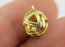 18k yellow gold 8mm pearl enhancer bead cage pendant charm slide estate vintage