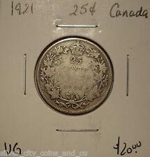 Canada George V 1921 Silver Twenty Five Cents - VG