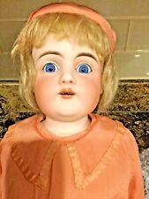 Vtg Antique 23� Kestner #154 Dolly-Face Bisque Shoulder Head Doll Set Glass Eyes